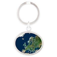 Europe, satellite image Oval Keychain