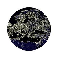 """Europe at night, satellite image 3.5"""" Button"""
