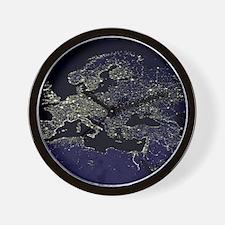 Europe at night, satellite image Wall Clock