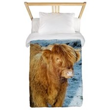 Highland cow in winter Twin Duvet