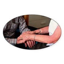 Elderly couple holding hands Decal