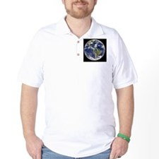 Earth with 5 hurricanes, satellite imag T-Shirt