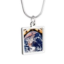 Earth as a clock, conceptu Silver Square Necklace