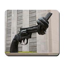 Gun sculpture at United Nations New York Mousepad