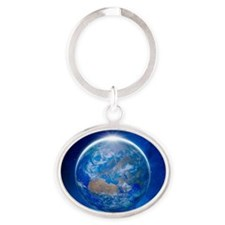 Earth from space, artwork Oval Keychain