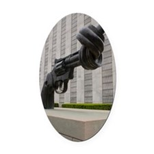 Gun sculpture at United Nations Ne Oval Car Magnet