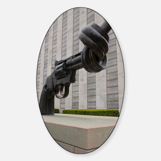 Gun sculpture at United Nations New Sticker (Oval)