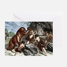 Early humans using weapons Greeting Card
