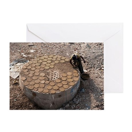 Drying cow dung for fuel Greeting Card