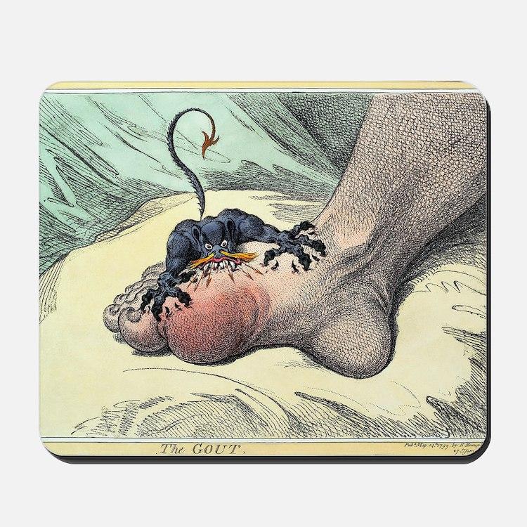 Gout, 18th-century caricature Mousepad