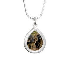 Domestic Asian water buf Silver Teardrop Necklace