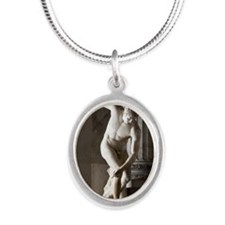 Discus thrower statue Silver Oval Necklace