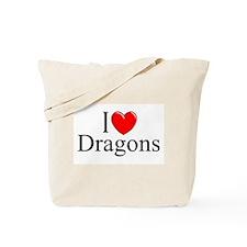 """I Love (Heart) Dragons"" Tote Bag"