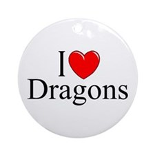 """I Love (Heart) Dragons"" Ornament (Round)"