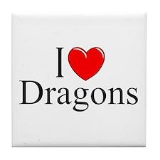"""I Love (Heart) Dragons"" Tile Coaster"