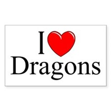 """""""I Love (Heart) Dragons"""" Rectangle Decal"""