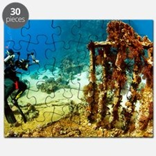 Diver taking photographs underwater Puzzle