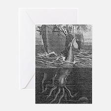 Gigantic squid and ship, 19th centur Greeting Card
