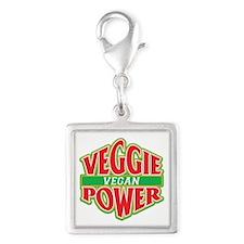 Veggie Power Vegan Silver Square Charm