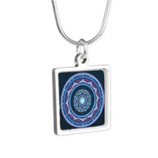 Blue and  Purple Lotus Man Silver Square Necklace