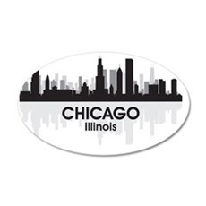 Chicago Skyline 35x21 Oval Wall Decal