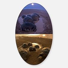Galapagos giant tortoise thermoregu Sticker (Oval)