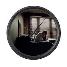Depressed man Large Wall Clock