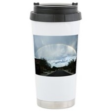 Rainbow over the end of a road  Travel Mug