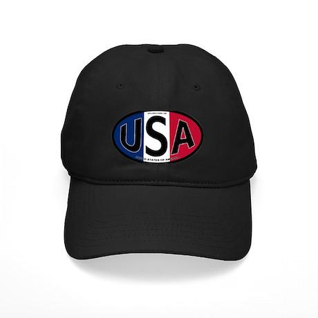 USA Oval Colors Black Cap