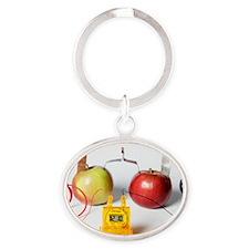 Fruit-powered clock Oval Keychain