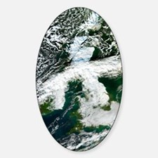 Fog and snow-covered UK, December 2 Sticker (Oval)