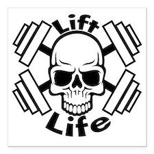 "lift life skull Square Car Magnet 3"" x 3"""