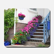Flowers on porch stairs Mousepad