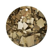 Cubic pyrite crystals Round Ornament