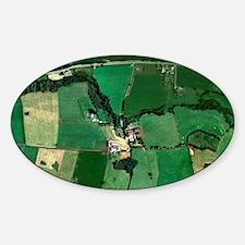Farm, aerial view Sticker (Oval)