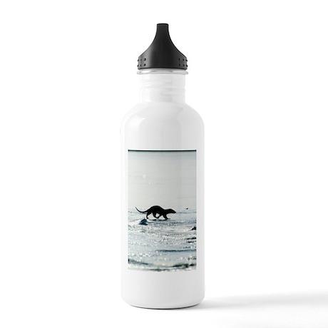 European otter on sea Stainless Water Bottle 1.0L
