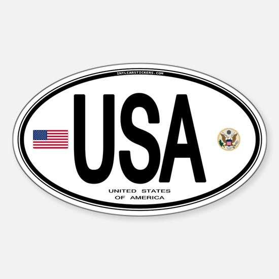 USA Euro-style Country Code Oval Bumper Stickers