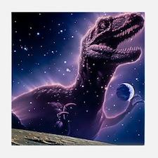 Conceptual art of a ghostly dinosaur  Tile Coaster