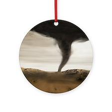 Computer illustration of a tornado Round Ornament