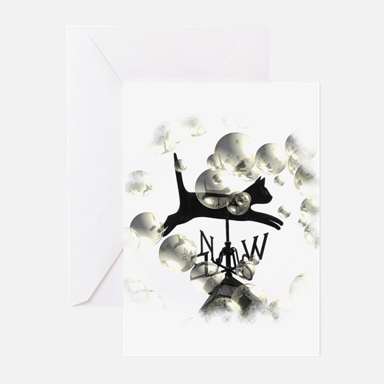 Flying cat Greeting Cards (Pk of 10)