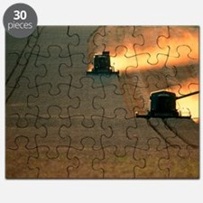 Combine harvesters and tractor working in a Puzzle