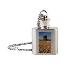 Combine harvester working in a whea Flask Necklace