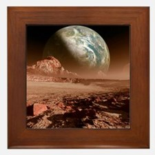 Earth-like planet, artwork Framed Tile