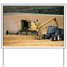 Combine harvester off-loading grain Yard Sign