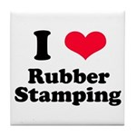 I Love Rubber Stamping Tile Coaster