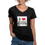 I Love Rubber Stamping Women's V-Neck Dark T-Shirt