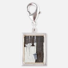 Collecting maple tree sap Silver Portrait Charm