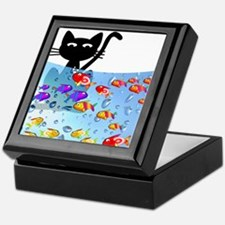 Whimsical Cat and Fish 1 Keepsake Box