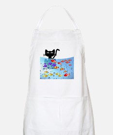 Whimsical Cat and Fish 1 Apron