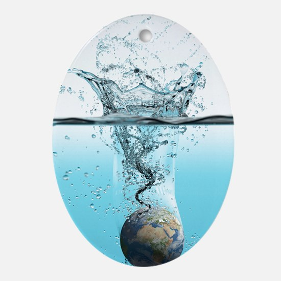 Drowning Earth, conceptual image Oval Ornament